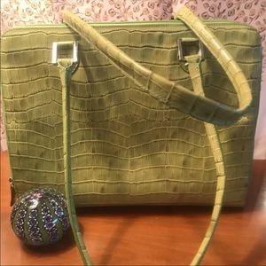 Karen Callan croc print leather bag chartreuse